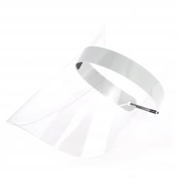 Visière de protection transparente avec renfort mousse avant et élastique de fixation